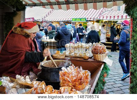 Homemade Candies Are Sold At Riga Christmas Market