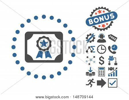 Certificate pictograph with bonus design elements. Vector illustration style is flat iconic bicolor symbols, cobalt and gray colors, white background.