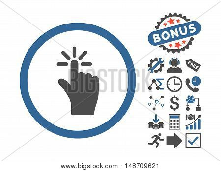Click pictograph with bonus pictogram. Vector illustration style is flat iconic bicolor symbols cobalt and gray colors white background.