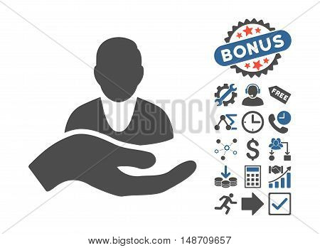 Client Care Hand icon with bonus pictogram. Vector illustration style is flat iconic bicolor symbols cobalt and gray colors white background.