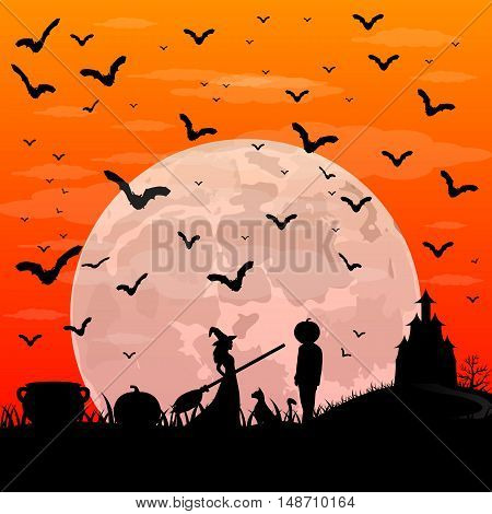 Beautiful witch with a broom and a man with the head of a pumpkin on Halloween sunset patty. night landscape with moon vector illustration