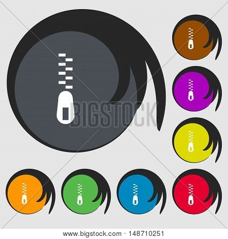 Zipper Icon Sign. Symbols On Eight Colored Buttons. Vector