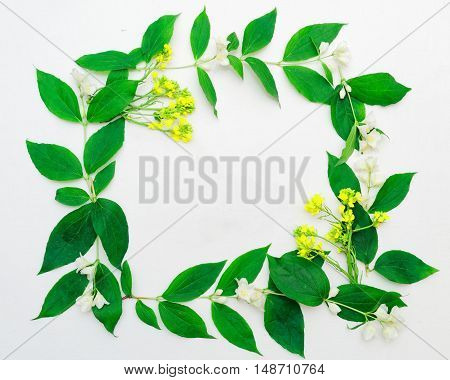 Wreath Of Jasmine Flowers And Leaves And Yellow Flowers
