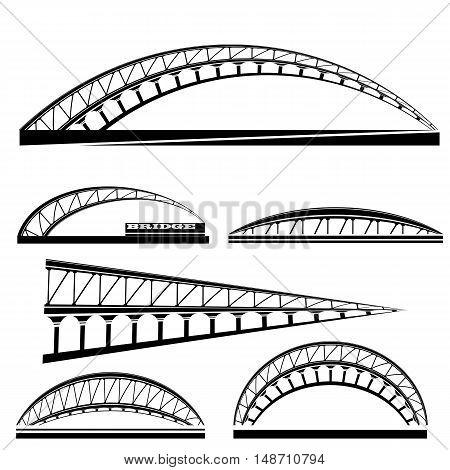 Set of Bridge Icons Isolated on White Background. Bridge Logo.
