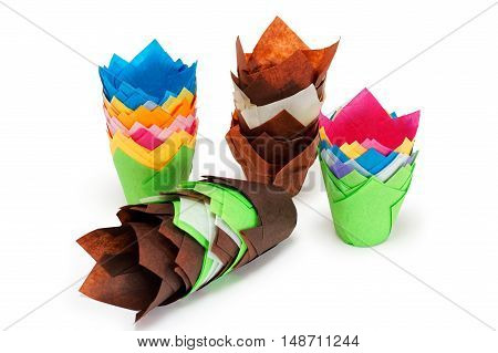 Bright Multicolored Paper Cup Cake Holders Isolated On White