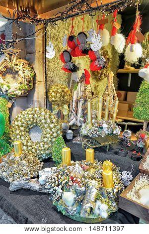 Golden Christmas Wreaths At Riga Christmas Market