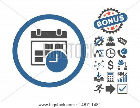Date and Time pictograph with bonus clip art. Vector illustration style is flat iconic bicolor symbols, cobalt and gray colors, white background.