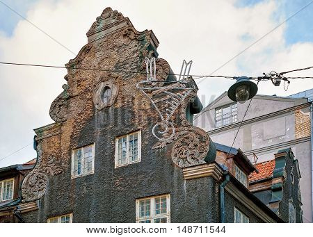 One of the buildings in the old town of Riga in Latvia. The old town is the heart of the city and includes many historically important and beautiful buildings such as House of the Blackheads.