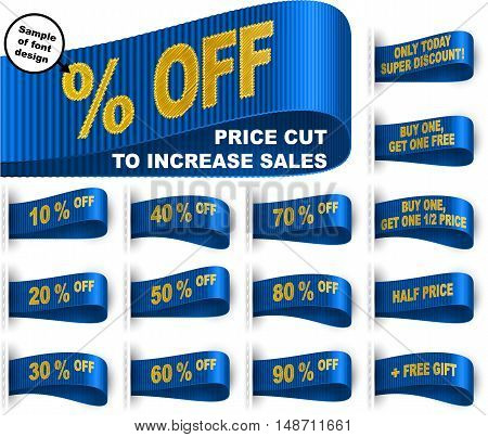 Clothes labels with price cut percentages and phrases for sales promotion; Only today discount; Buy one get one free gift; Half price; 10 20 30 40 50 60 70 80 90% off; Blue vector set Eps10