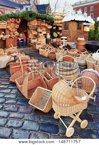 Straw Baby Carriage And Baskets At The Riga Christmas Market