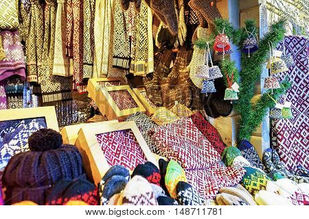Warm Mittens And Socks On Sale At Riga Christmas Market