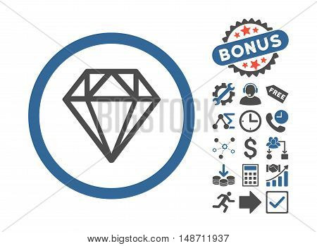 Diamond icon with bonus elements. Vector illustration style is flat iconic bicolor symbols cobalt and gray colors white background.