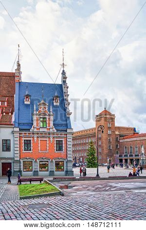 Colorful Building At The Town Hall Square In Old Riga