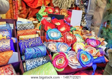 Festive Handmade Ties And Flower Brooches At Riga Christmas Market