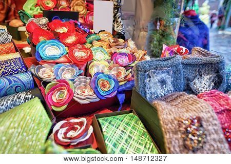 Festive Handmade Ties And Flower Brooches During Riga Christmas Market