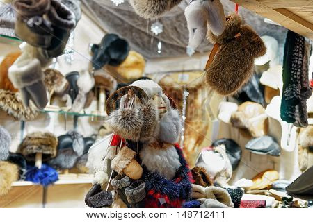 Fur Mittens And Other Accessories At The Vilnius Christmas Market