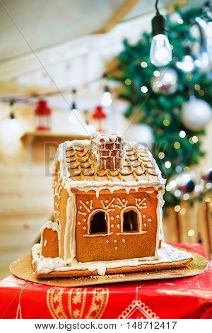 Gingerbread House At Vilnius Christmas Market In Lithuania