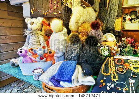 Handmade Bears And Hats On Display At Riga Christmas Market