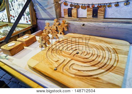 Handmade Wooden Board Game On Sale During Riga Christmas Market