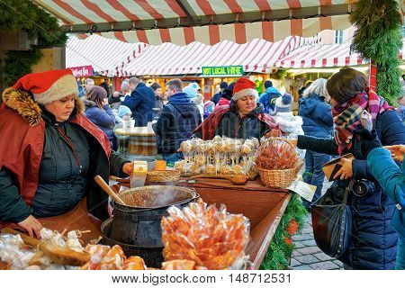 Homemade And Hot Candies Selling At The Riga Christmas Market