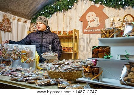 Man Selling Gingerbread Sweets At The Vilnius Christmas Market
