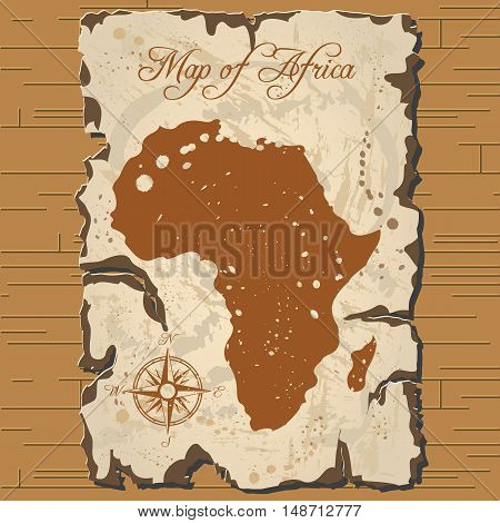 Vector old parchament with map of Africa with format eps10.