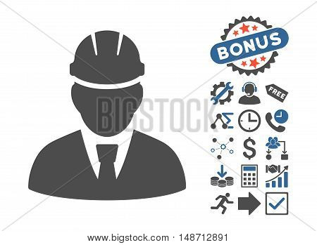 Engineer icon with bonus symbols. Vector illustration style is flat iconic bicolor symbols, cobalt and gray colors, white background.
