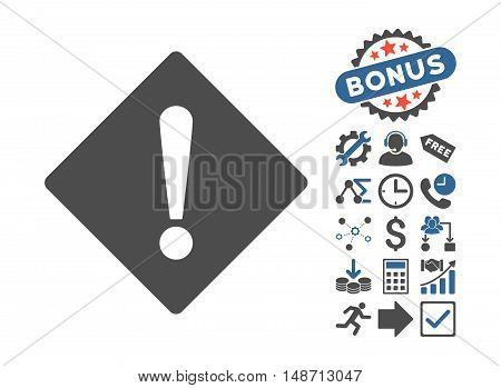 Error pictograph with bonus design elements. Vector illustration style is flat iconic bicolor symbols, cobalt and gray colors, white background.