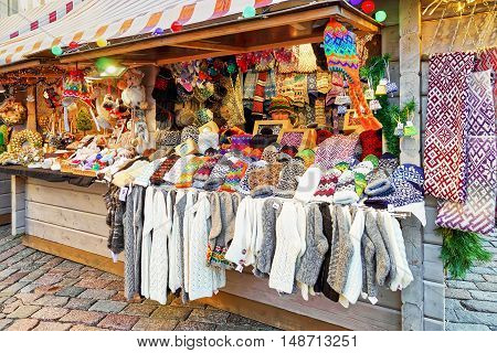 Stall With Warm Socks And Mittens At Riga Christmas Market