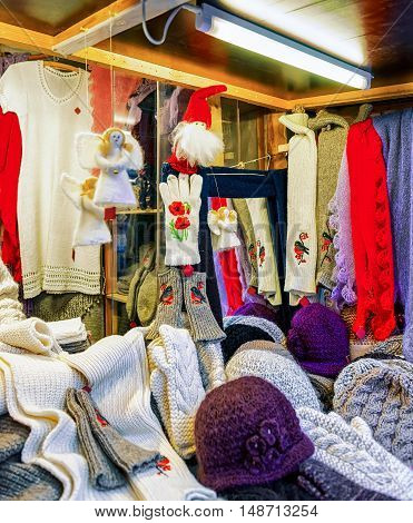Stall With Warm Woolen Clothes At The Riga Christmas Market