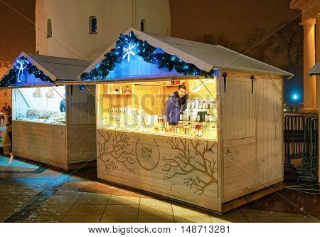 Stalls At The Vilnius Christmas Market In Lithuania