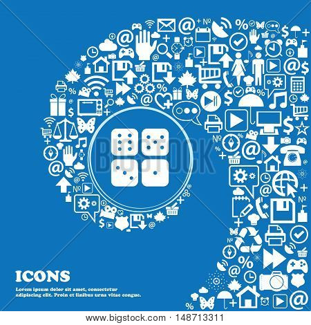 Dices Icon Sign. Nice Set Of Beautiful Icons Twisted Spiral Into The Center Of One Large Icon. Vecto