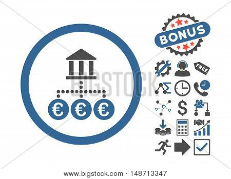 Euro Bank Transactions pictograph with bonus pictogram. Vector illustration style is flat iconic bicolor symbols, cobalt and gray colors, white background.