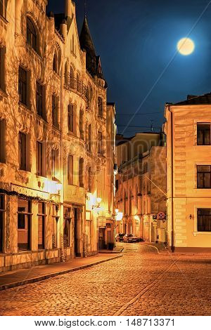 Streets In The Old Town Of Riga At Night