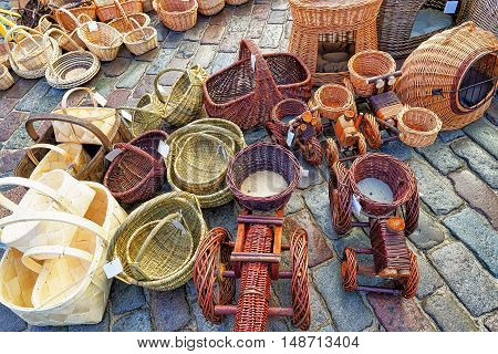 Various Wicker Baskets At Christmas Market In Riga