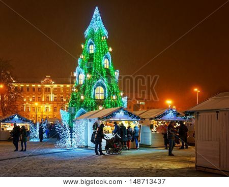 Vilnius Christmas Market And The Christmas Tree In Lithuania