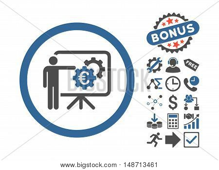 Euro Business Project Presentation pictograph with bonus elements. Vector illustration style is flat iconic bicolor symbols, cobalt and gray colors, white background.