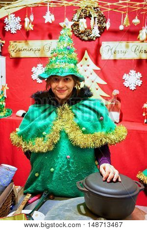 Woman Dressed As An Elf At The Vilnius Christmas Market