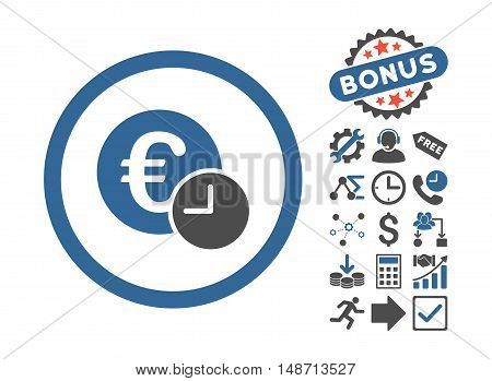 Euro Credit pictograph with bonus design elements. Vector illustration style is flat iconic bicolor symbols, cobalt and gray colors, white background.