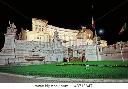 National Monument To Victor Emmanuel In Rome Of Italy