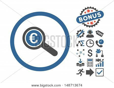 Euro Financial Audit pictograph with bonus pictogram. Vector illustration style is flat iconic bicolor symbols, cobalt and gray colors, white background.