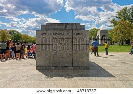 Visitors At National World War Ii Memorial Washington Dc