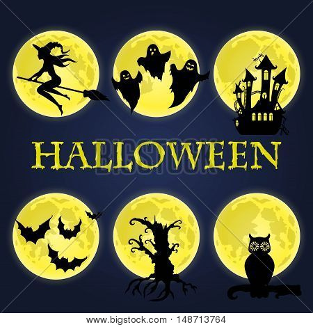 Halloween symbols collection. Witch on a broomstick, an ancient castle, a dry tree, ghosts, owl