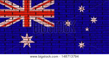 Illustration of the flag of Australia looking like it is painted onto a brick wall