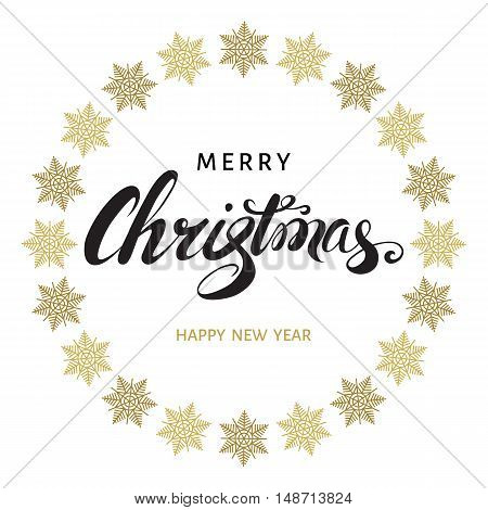 Merry Christmas hand lettering with golden snowflakes on white background. Happy New Year vector greeting card.