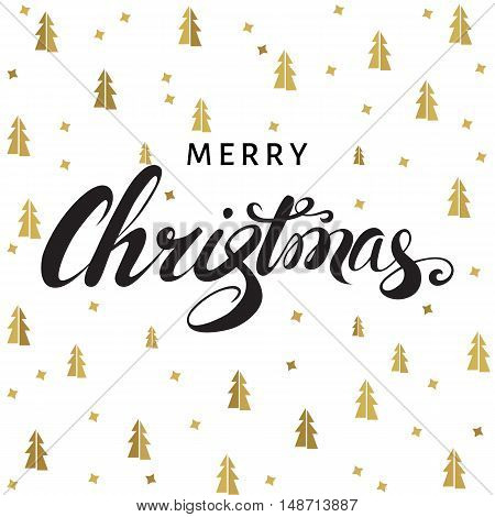 Christmas and New Year greeting card. Lettering on white background with golden spruces. Vector illustration.