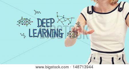Deep Learning concept with young woman on a blue background