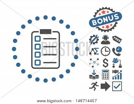 Examination icon with bonus design elements. Vector illustration style is flat iconic bicolor symbols, cobalt and gray colors, white background.