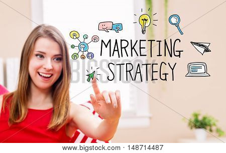Marketing Strategy Concept With Young Woman