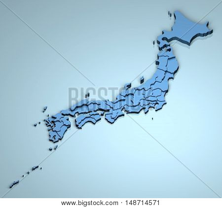 Japan 3D country geographical location islands asia